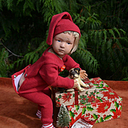 "16"" Schoenhut 403 Christmas Boy Wears Red Long Johns, Cap, Has Puppy in Stocking, Tree, Xmas Pinback"