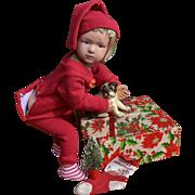 "16"" Schoenhut 403 Christmas Boy Wears Red Long Johns, Cap, Has Puppy in Stocking, Tree, Xmas Pinback"