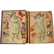Victorian Scrapbook with Die Cut Snow Angels, Children, Flowers, Cats, Advertising 39 page sides