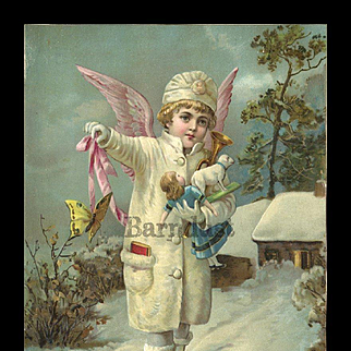 Victorian Christmas Snow Angel with Doll, Toys, Embossed Card 5 x 7 Quality Chromolithograph