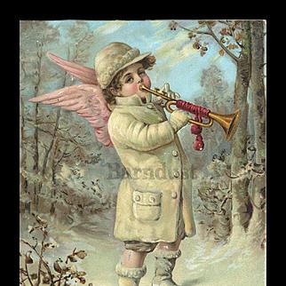 Victorian Christmas Snow Angel Trumpets Winter Season 5 x 7 Embossed Card