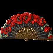 Large Die Cut Fan, Gold Trim, Poppies