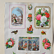 c. 1870S Scrapbook Page, Die Cut & Mechanical Christmas Pantomime / 3-D Cards