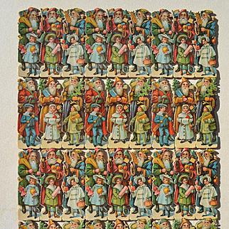 Large Sheet of 36 German Santa and Children Victorian Die Cuts