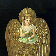 c.1880s Unusual Embossed Gold Foil Die Cut Angel with Green Lady