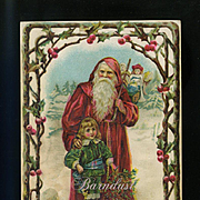 c. 1890s Santa Claus Embossed Victorian Trade Card, Fred von Rohr Bakery Confectionary, Highland, Illinois