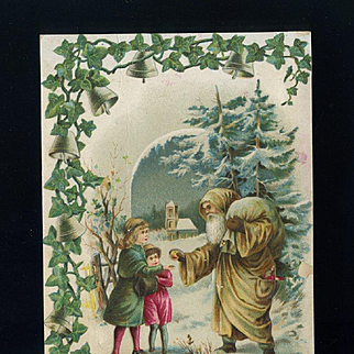 c. 1890s Santa Greets Children in Woods, Victorian Trade Card, Fred von Rohr Bakery Confectionary, Highland, IL