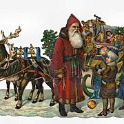 Victorian Christmas Die Cut, Santa, Children, Reindeer, Sleigh Full of Toys