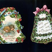 Die Cut Christmas Bells, One Nister, Embossed, Holly Berry, Angels