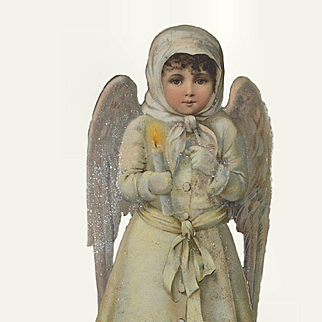 Large Victorian Christmas Snow Angel with Candle, Glitter, Embossed