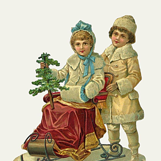 Large Victorian Christmas Die Cut, Winter Boy Pushes Girl in Sleigh