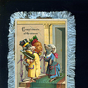 c. 1880's Anthropomorphic Christmas Mice & Smiling Plum Pudding, Blue Silk Fringed Card