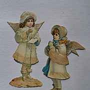 Pair Small Victorian Embossed Die Cut Christmas Angels with Snow Glitter