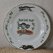 Dachshund Chases Cat on Child's or Doll's China Plate
