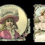 c. 1890s Pair of Advertising Die Cuts, Winter Girls in Pink, Cat in Muff, As Is