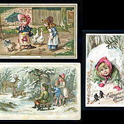 3 Victorian Winter / Christmas Themed Cards