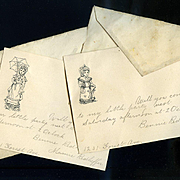 c. 1880s Invitations To My Little Party, Kate Greenaway Stationary, Bennie & Mamie Redheffer
