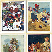 Nister's Holiday Annual c. 1910, 16 Color Plates, Children, Dolls, Rabbits, Dogs, Cats, Winter, Teddy, Golly ++