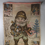 c. 1870 Edward Peck's Patriotic American Santa Claus, Rare Printed Cloth Christmas Banner by Oriental Print Works