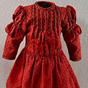 """Turkey Red Dress, Tiny Black Pattern & Featherstitching, Exc. Cond. For 16"""" Doll"""