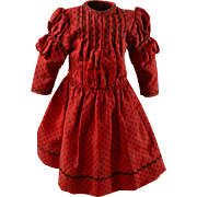 "Turkey Red Dress, Tiny Black Pattern & Featherstitching, Exc. Cond. For 16"" Doll"