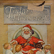 1919 Little Children in Pajamas Fascinated with Santa Claus, C.M. Burd Cover for Today's Housewife Magazine