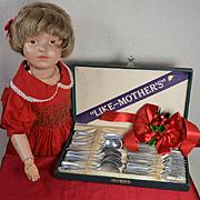 "c.1930's ""Like Mother's"" Metal Flatware for Dolls, Germany, Original Box"