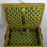 Antique Sewing Basket, Green Silk Tufted Interior, Near Perfect, Use for Larger Doll Presentation Box