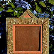 Victorian Gesso Frame, Daisy & Lattice, Orig. Paint, Unique Shape, Pink Velvet Liner