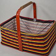 Vintage 1950's Folding Dime Store / Grocery Market Basket, Striped Canvas & Metal (1)