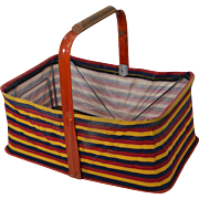 Vintage 1950's Folding Dime Store / Grocery Market Basket, Striped Canvas & Metal (1)