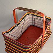 Vintage 1950's Folding Dime Store / Grocery Market Basket, Striped Canvas & Metal (2)