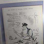 1930's-40's Original Ink Illustration by  Howard Fisher, Oregon Newspaper Artist, Santa Claus Toy Maker