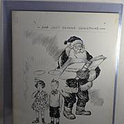 1930's-40's Original Art by Howard  Fisher, Oregon Newspaper Illustrator, Santa Claus Checks Kids Naughty / Nice List