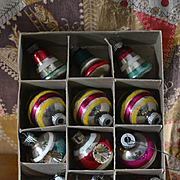 Vintage Original Box Shiny Brite Ornaments c. 1950's
