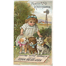 Little Farm Girl & Puppies Victorian Trade Card, Standard Sewing Machines