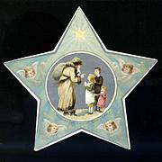 c.1880s Die Cut Star, Santa Greets Children, Metallic Silver