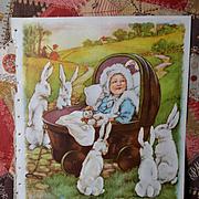 "1939 C.M. Burd ""Bye, Baby Bunting"" Rabbits Entertain Baby, Large Book Print"