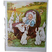 "1939 C.M. Burd ""Bye, Baby Bunting"" Rabbits Entertain Baby, Large Book Print"