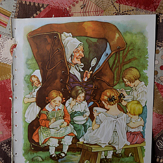 """1939 C.M. Burd """"Old Woman Who Lived in a Shoe"""" Cute Children, Book Print"""