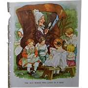 "1939 C.M. Burd ""Old Woman Who Lived in a Shoe"" Cute Children, Book Print"
