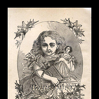 1880 Engraving, Little Girl with Christmas Doll & Toys
