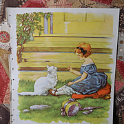 """1939 C.M. Burd """"I Like Little Pussy"""" Girl and Cat Book Print"""
