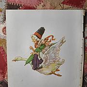 "1939 C.M. Burd ""Mother Goose"" Takes Flight, Children's Book Print"