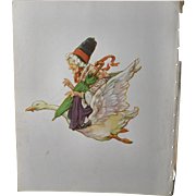 "1939 C.M. Burd ""Mother Goose"" Takes Flight, Children's Book Print"