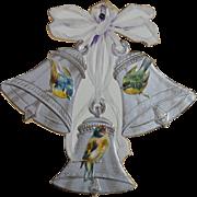 c.1900 Die Cut Swivel Calendar, Embossed Birds on Silver Bells
