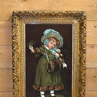 "c. 1880's Victorian Winter Girl Holds Mistletoe ""Tiss Me!"" Wonderful Yard Long Type Print in Ornate Gesso Frame"