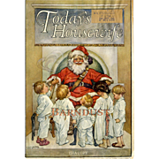 c. 1915 Children in PJ's Gather Around Santa Claus, Rare Magazine Cover by C.M. Burd, Today's Housewife