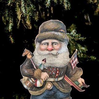 Early Style Santa Claus, Vintage Boardwalk Originals Standup Figure, Signed Bonnie Barrett