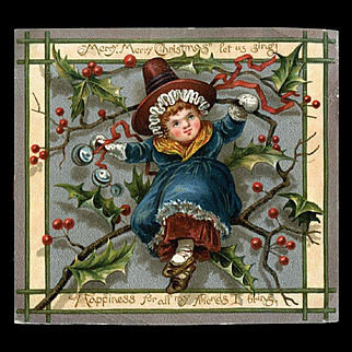 1883 Prang Christmas Card, Girl Sits on Holly Branch, Bells and Ribbon, Uncommon Card